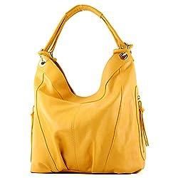 modamoda de - Z18 - ital Damenhandtasche aus Leder/Nappaleder, Farbe:Gelb