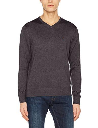 Tommy Hilfiger Herren Pullover Cotton Silk Vneck, Grau (Magnet Heather 004), Small