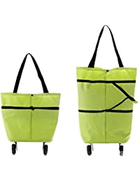 Magnusdeal® Foldable Trolley Bag Type-New With Rolling Wheel, Polyester Material, Qty.(1pcs) Color-Assorted ,Dimension...