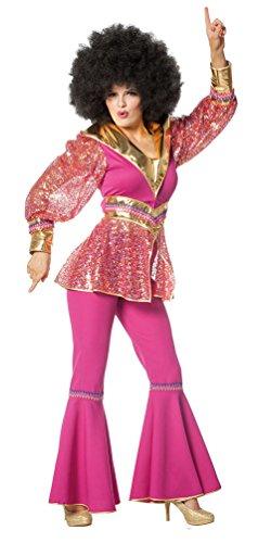 Karneval Klamotten Disco Kostüm Damen pink gold 70er 80er Jahre Schlager Kostüm Karneval Damen-Kostüm Größe 34 (70's Disco Kostüme Für Kinder)