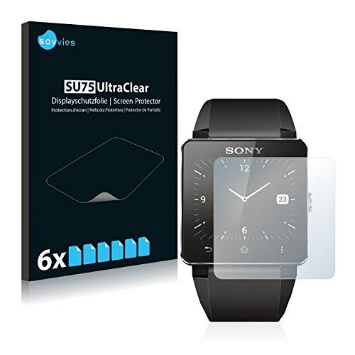 Savvies Schutzfolie kompatibel mit Sony Smartwatch 2 (6 Stück) - ultraklare Bildschirmschutz-Folie