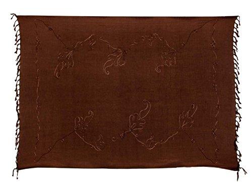 Sarong Bekleidung Pareos (Premium Sarong Pareo Wickelrock Strandtuch Lunghi Dhoti Schlicht Blickdicht Braun Tolle Stickerei PEDB)