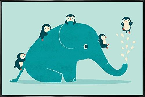 """JUNIQE® Bild mit Rahmen 40x60cm Elefanten Kinderzimmer & Kunst für Kinder - Design """"Waterslide"""" (Format: Quer) - Wandbilder, Gerahmte Bilder & Gerahmte Poster von unabhängigen Künstlern - Kinderbilder & Kunst für's Babyzimmer - entworfen von Jay Fleck"""