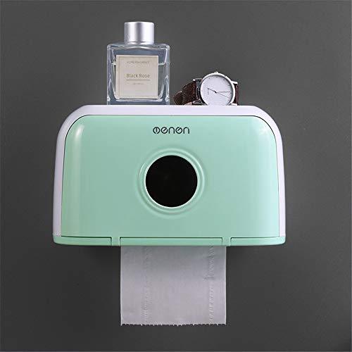 Taifaheng Toilettenpapierhalter KlopapierrollenhalterBad Tissue Box Regal frei Stanzen wasserdicht Rollenpapier Rohr Tablett grün