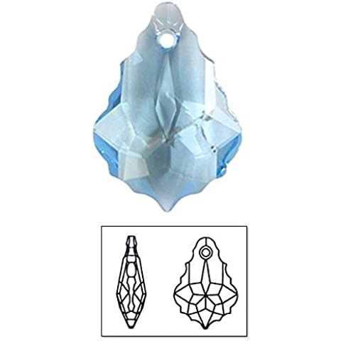 Swarovski Elements 6090 Baroque Pendants, Transparent, Aquamarine, 11 by 16mm, 3 Per Pack by Shipwreck Beads