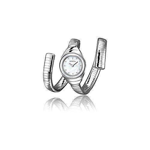 Breil orologio al quarzo con display analogico bianco e argento in acciaio...
