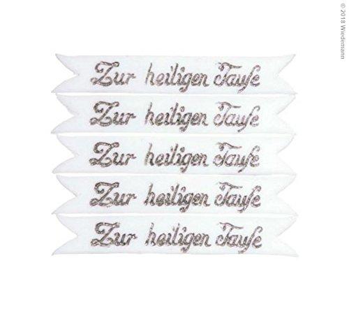 Wiedemann Verzierornament Schrift zur Heiligen Taufe, Wachs, Silber, 1, 0 x 6, 00 x cm, 1 Einheiten