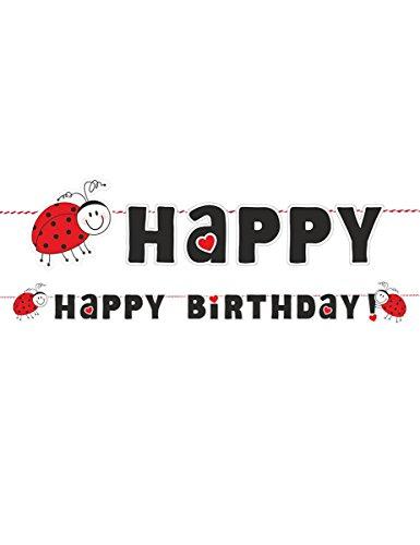 Generique 5pts Girlande Happy Birthday Marienkäfer rot und schwarz Einheitsgröße