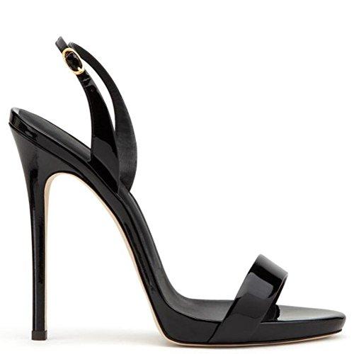 L@YC Weibliche High Heels Plattform Damen Kn枚chel G眉rtel Ball Partei Sandalen Gr枚脽e Black