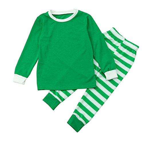 smileq 2Xmas Kleidung SET Junge Mädchen Buchstabe Gedruckt Tops Santa gestreift Hose Weihnachten Outfits Familie Passende Weihnachten Schlafanzüge Set, grün (Halloween-ideen Mit Familie 4)