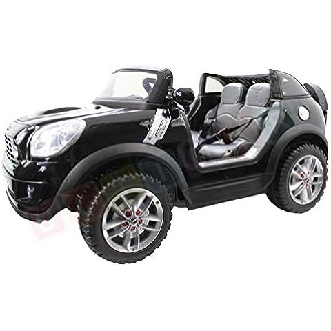 Mini Cooper Negro, licencia, un coche electrico para niños, dos plazas, motor 2x45W, battery 2x 6V 7Ah, mando a