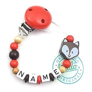 Baby Schnullerkette mit Namen, Fuchs, Rot, Handmade Namenskette/Schnullerhalter zur Geburt, Geburtstag, Taufe für Junge und Mädchen