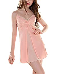 Mujer Encaje Pijama Satén Neglige Elegante Lencería Ropa de Dormir