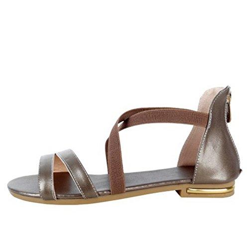 TAOFFEN Femme Confortable Croise Chaussures Bout Ouvert Fermeture Eclair Solid Plat Sandales Champagne