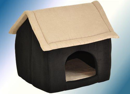 hundeinfo24.de nanook Hunde-Höhle Katzen-Höhle CHALET PICO, für kleine Hunde, Katzen und Kleintiere, Größe M (60 x 56 cm), Wildleder-Optik, schwarz beige