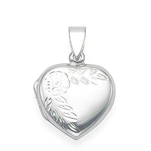 925 Sterling Silber Herz Locketanhänger mit Blumenmotiv, Größe : 17 x 17 mm Gift box – 8021