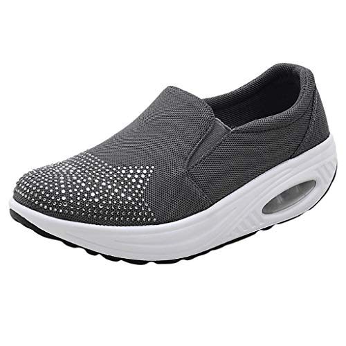 Chaussures de Sport Femme,OIKAY Strass Cushion Sports Shoes Chaussures Casual Épaisses Respirantes Maille Chaussures Confortables Outdoor Running Gym Fitness Sport Sneakers