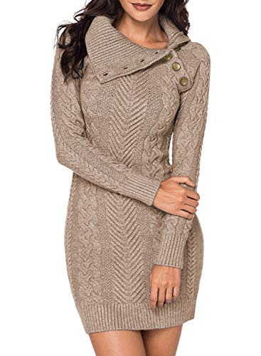 Aleumdr Automne-Hiver Robe Pull Femme Tricoté à Col Revers Bouton Robe Mi-Longue Chandail Pull Chaud - Abricot(beige) - L