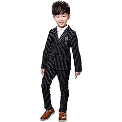 2PCS Niños Niños Trajes de boda Vestido formal Negro Blanco Rayas Tuxedo (negro, 2 años)