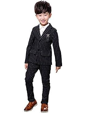 2PCS Niños Niños Trajes de boda Vestido formal Negro Blanco Rayas Tuxedo