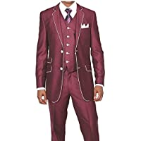 MYS da uomo Custom Made Slim Fit lana Feel due pulsante Tuxedo Suit Gilet Pantaloni Set Maroon