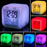 #7: Buyerzone 7 Colour Changing LED Digital Alarm Clock with Date, Time, Temperature For Office Bedroom