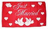 Fahne / Flagge Just Married / Hochzeit 90 x 150 cm