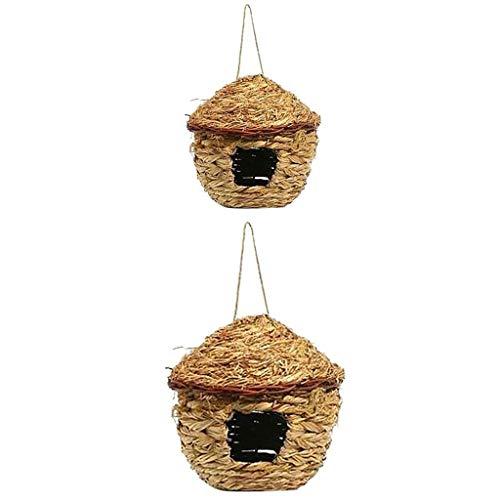 PanDaDa 2 Pièces Nid d'oiseaux en Paille Cage Suspendu Tissée à la Main Deux Tailles Bird Nest pour Perroquet Canari Cockatiel Petits Animaux Domestiques - Diamètre: 11CM, 22CM
