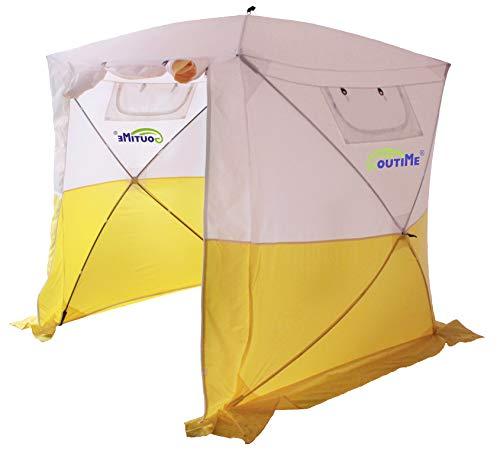 Goutime Pavilions,Campingzelt Klappzelte AktivitäTen Zelte,2×2M Wasserdicht Pop-Up-Zelt, (Weiß und Gelb)