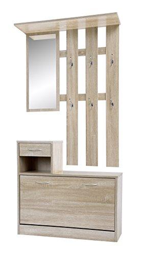 ts-ideen Set Wand-Garderobe Spiegel Schuhkipper Schuhschrank mit Schublade Holz hell