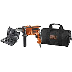 BLACK+DECKER KR714S32-QS Perceuse à percussion filaire - 710 W - 20,5 Nm - 0 - 2800 trs/min - 47600 coups/min - 1 vitesse - Coffret d'accessoire - Livrée en sac de rangement