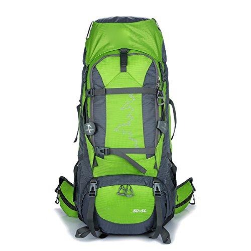 Rucksack Rucksack Wandern Outdoor 80L Reisen Lässige Daypack Hochleistungs-Taschen,Orange Green