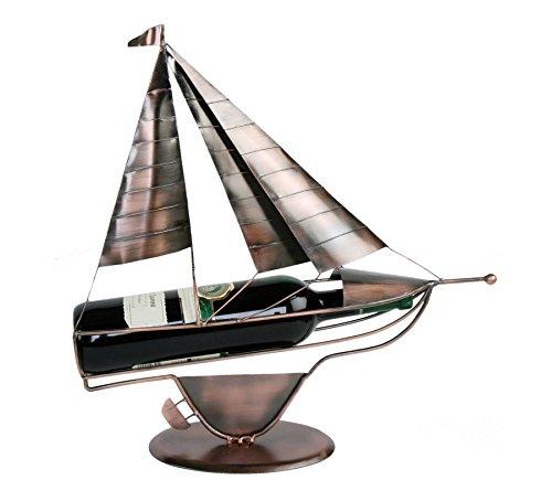 Segelschiff Flaschenhalter Metall Kupferfarbe Weinflaschenhalter Sekthalter Deko