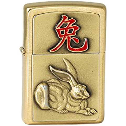 Zippo 2.004.800Year of the Rabbit 2023,, Brass cepillado, mechero, 5.5x 3,50x 1,5cm