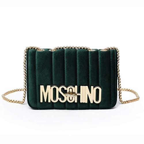 Neue Clutch Handtasche Tasche (Frauen Umhängetasche Handtaschen neue Mode einfachen Samt Buchstaben Schulter diagonale Kette kleine quadratische Tasche (grün, 21 * 7 * 15cm))