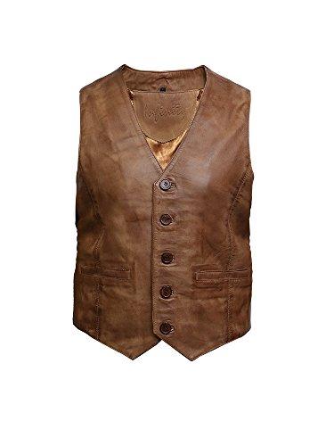 Chaleco de Cuero Nappa Vintage para Hombre (L, Broncearse)