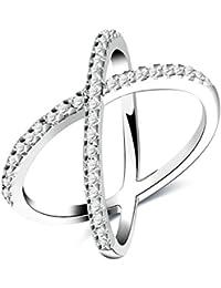 Silberring versilbert Seesterne Ring Damenring Zirkonia 925 Silber plated