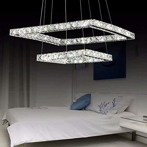 Lampadario moderno di lusso LED di LOCO, placcatura moderna quadrata in acciaio inox Lampada da soffitto moderna casa (Diametro: 20 * 12 pollici) Dimmerabile Con telecomando