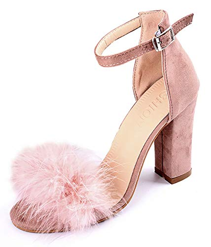 Damen Sandalen Sommer-Sandalen für Frauen Plateau High Heels Block Comfy Party Schuhe, Pink - Rose - Größe: 38 EU (Caged Keil Sandalen)