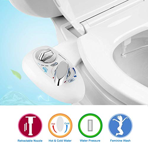 YECO Toilet Bidet, Hot and Cold Fresh Water with Self Cleaning Retractable Nozzle Non-Electric Mechanical Toilet Seat Bidet for Hygienic Personal Care, Sanitizing, Eco-Friendly, Easy and Quick Installation