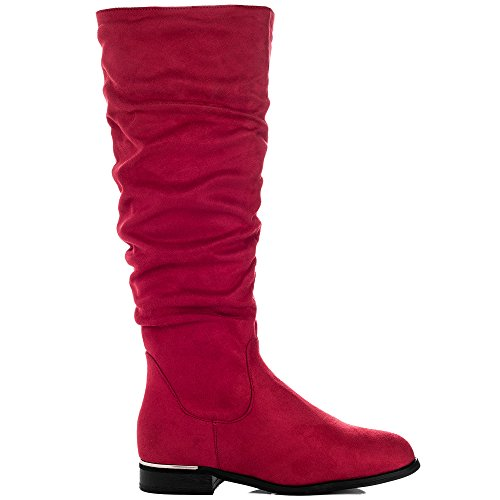 Rouge Femmes Spycia Classiques Simili Daim Bottes Spylovebuy Plates p0dCxFwqnq
