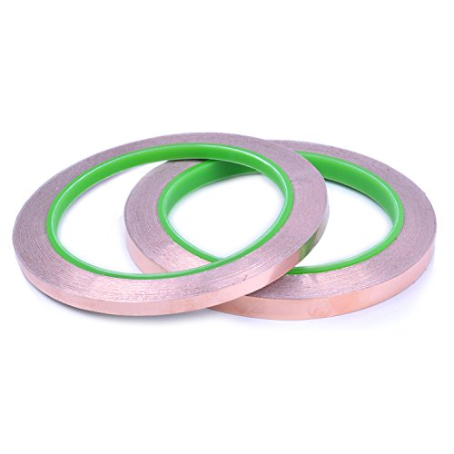 2 rollos de Cinta de Lámina de Cobre con Adhesivo Conductivo, Cinta adhesiva de cobre para Reparaciones eléctricas y obras de arte, 20m (5mm and 8mm)
