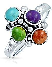 Bling Jewelry Púrpura Verde azul turquesa 925 Grupo Coral Anillo Plata Piedras Preciosas