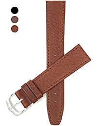 18mm Correa reloj de cuero auténtico, Marrón Rojizo, acabado mate, también disponible en negro, marrón