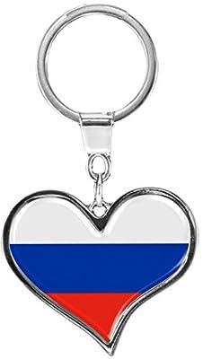 """Premium - Schlüsselanhänger aus Metall """"Russland"""" in Herz - Form - tolles Geschenk für Russland - Fans"""