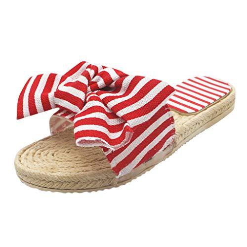 FNKDOR Schuhe Damen Streifen Bow Hausschuhe Peep-Toe Pantoffeln Flacher Boden Gras weben Slipper Rot 39.5 EU Tone Peep Toe Slingback Sandal
