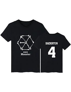 Camiseta de Apoyo 2018 Exo Fans KPOP Monster Nombre de Miembro Camiseta de Manga Corta Baekhyun Sehun Top de Algodón...