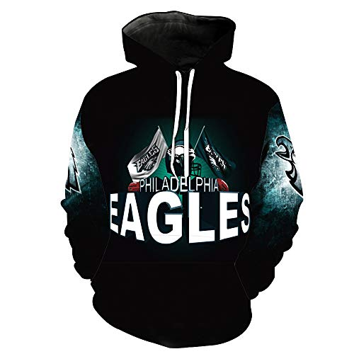 ZXTXGG Männer 3D Hoodies Philadelphia Eagles NFL Fußballmannschafts Uniform Muster Digitaldruck Kapuzenpullis Liebhaber Kapuzenpullis(XL,Schwarz) Eagle Herren Hoodie