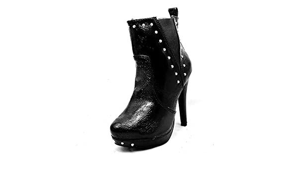 SendIt4Me Black Patent High Heel Ankle Boots With Elastic Sides and Studs Af0fz0WXL
