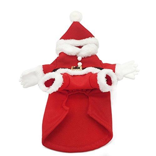 Halloween Kostüme Dogge (Weihnachtsmann Hundekostüme mit Hut Warme Weiche Fleece Umhang Wintermantel für Hunde Weihnachten Cosplay Hundebekleidung Rot)